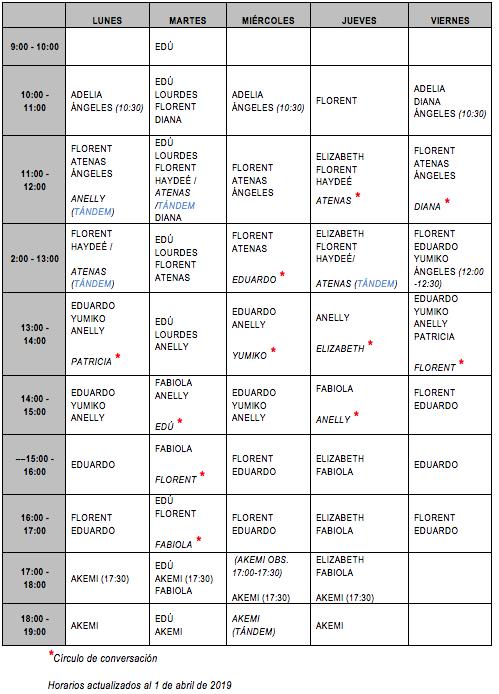 horarios asesoría abril